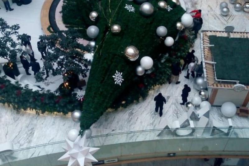 Árbol de Navidad de 15 metros cae en plaza comercial de CDMX; hay un lesionado. Noticias en tiempo real