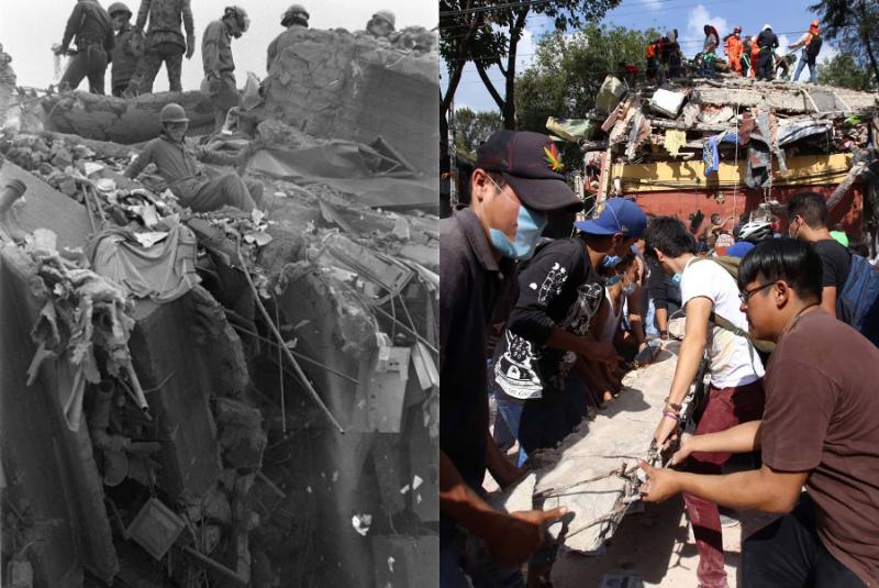 Reviven imágenes de los terremotos de 1985 y 2017 en la Ciudad de México (+fotos). Noticias en tiempo real