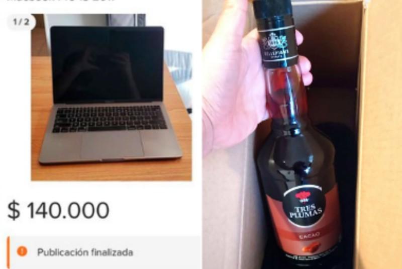 Joven paga 140 mil pesos por una computadora y le llega una botella de licor de cacao (+fotos). Noticias en tiempo real