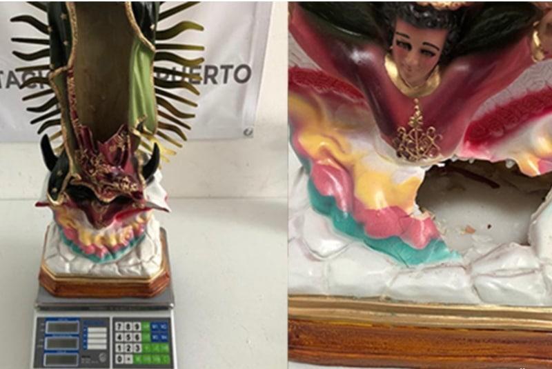Empresa de paquetería encuentra 5.6 kilos de crystal en imagen de la Virgen en Morelia. Noticias en tiempo real
