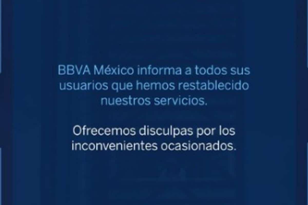 """Tras casi 24 horas BBVA informó que su servicio """"estaba restablecido"""" Foto: BBVA Bancomer"""