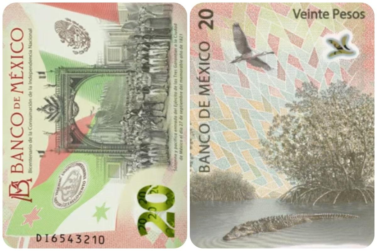 Este es el nuevo billete de 20 pesos.