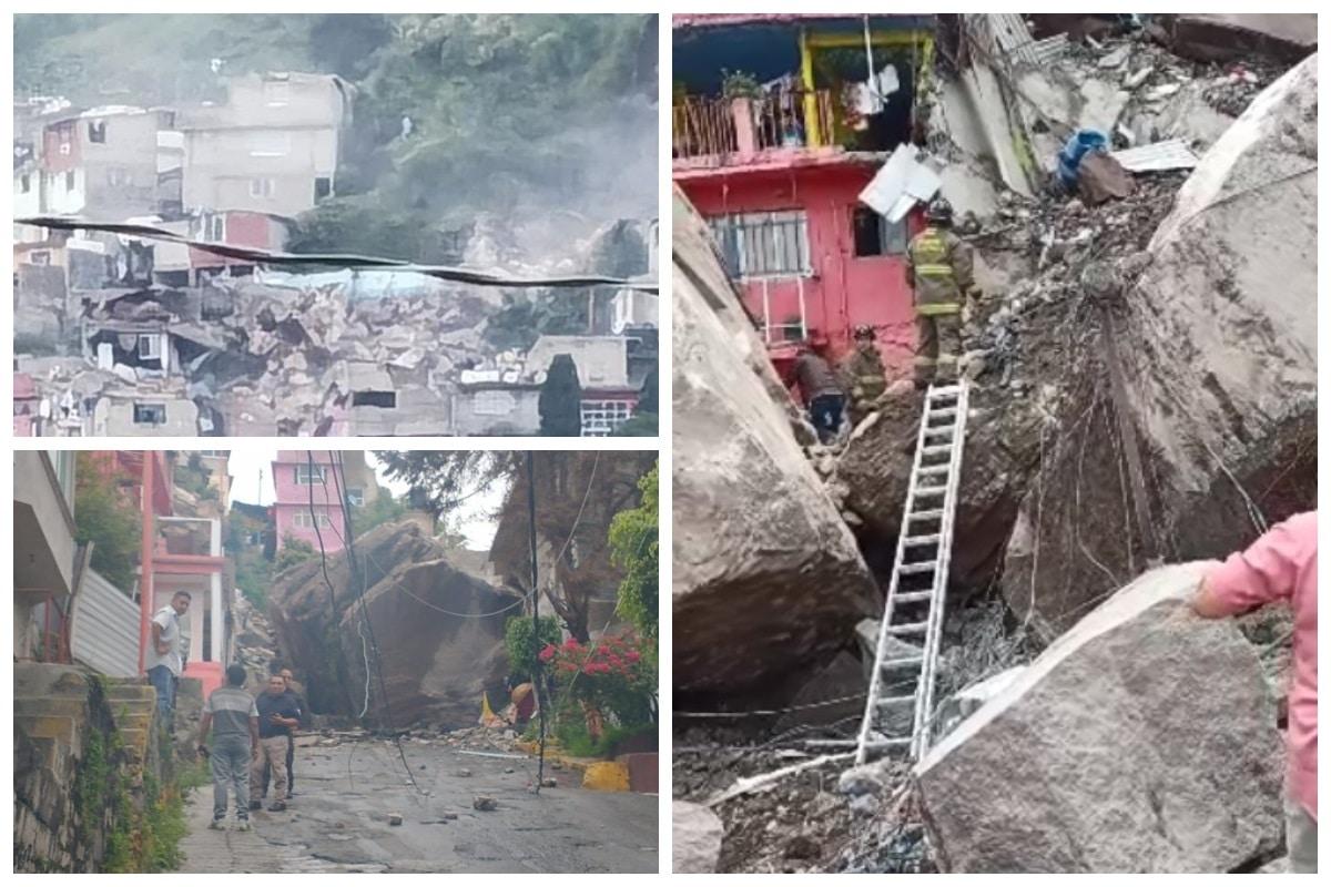 Se desgaja cerro en Tlalnepantla
